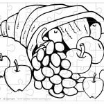 Printable B&W Cornucopia Small-Piece Puzzle
