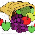 Printable Colored Cornucopia Small-Piece Puzzle