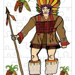 Printable Colored Indian Small-Piece Puzzle