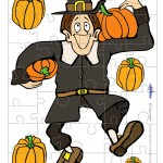 Printable Colored Pilgrim Small-Piece Puzzle