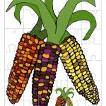 Printable Colored Wild Corn Small-Piece Puzzle