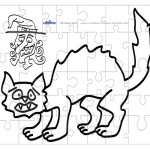 Printable B&W Cat Small-Piece Puzzle
