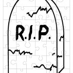 Printable B&W Gravestone Small-Piece Puzzle