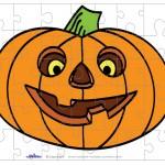 Printable Colored Pumpkin 1 Small-Piece Puzzle