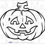 Printable B&W Pumpkin 2 Small-Piece Puzzle