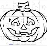 Printable B&W Pumpkin 2 Small-Piece Puzzle