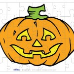 Printable Colored Pumpkin 2 Small-Piece Puzzle