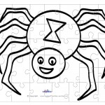 Printable B&W Spider Small-Piece Puzzle