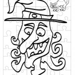 Printable B&W Witch Small-Piece Puzzle