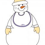 Large Printable Snowman with bib