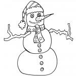 Printable B&W Snowman