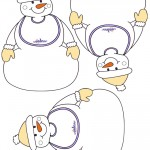 Blank Printable Snowman with bib Thank You Cards