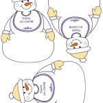 Printable Snowman with Bib Thank You Cards