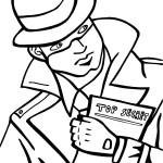 Printable Spy Detective Coloring Page 2
