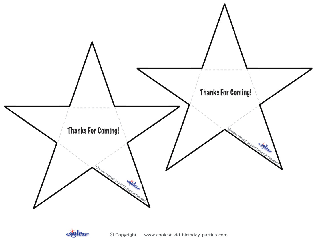 Printable B&W Star Thank You Cards Coolest Free Printables
