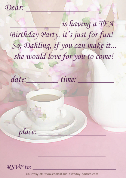 It is a picture of Free Printable Tea Party Invitations with regard to cute