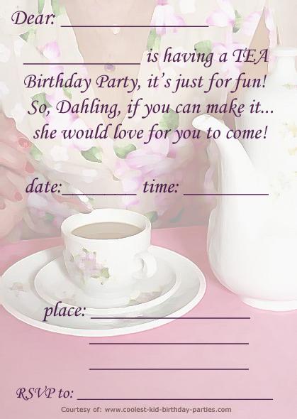 image regarding Free Printable Tea Party Invitations named Printable Tea A5 Invitation