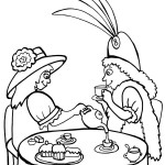 Printable Tea Party Coloring Page 1