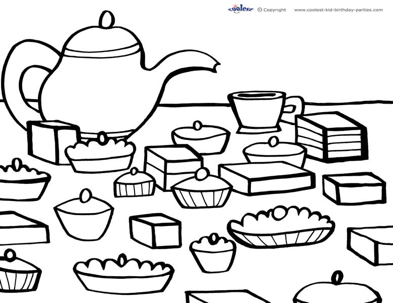 image about Tea Party Printable referred to as Printable Tea Celebration Coloring Site 5