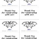 Printable B&W Bat Thank You Cards