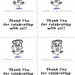 Printable B&W Frankenstein Thank You Cards