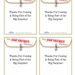 Printable Surprise Party Manila Thank You Cards