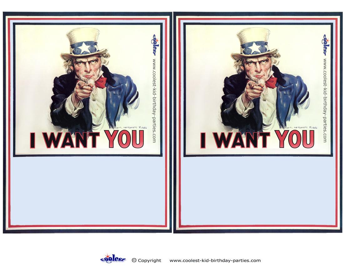 Blank Printable Uncle Sam Invi