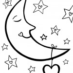 Printable Love Moon Coloring Page
