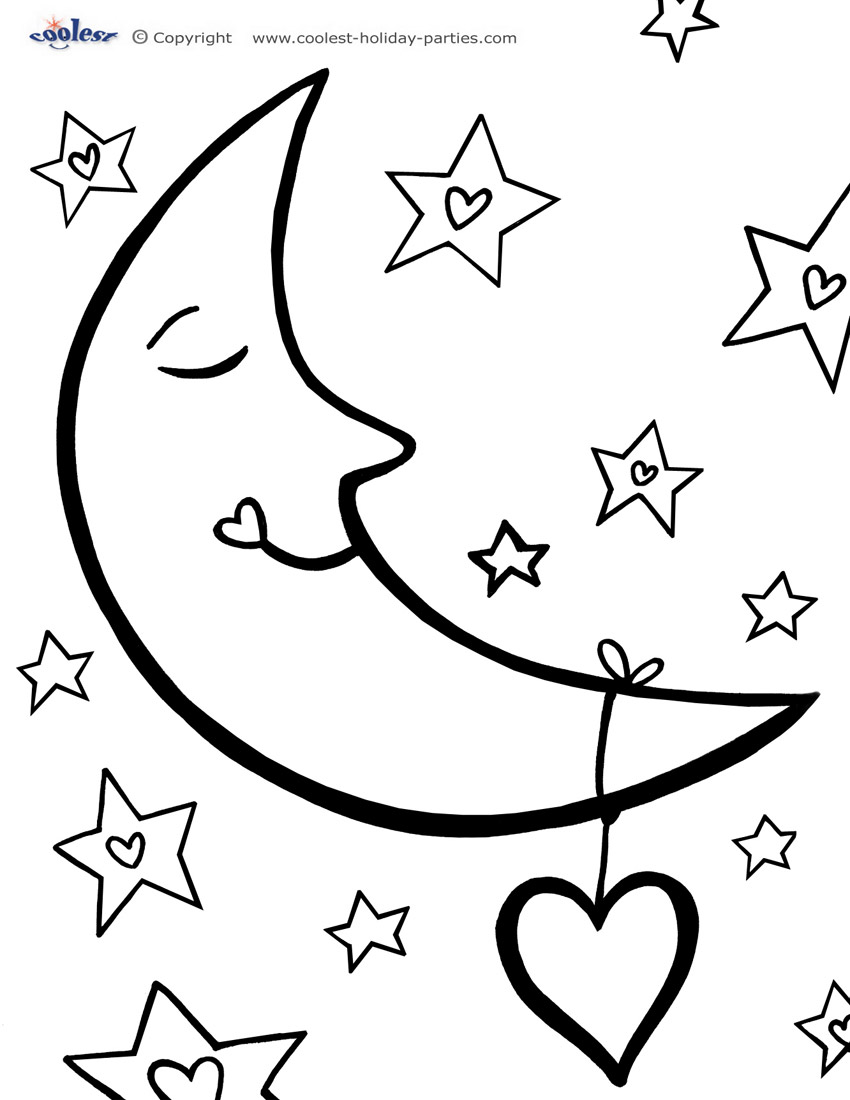 Free Moon And A Star Coloring Pages Moon Coloring Page