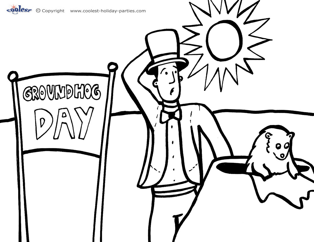 download printable groundhog coloring pages 2 - Groundhog Coloring Page Printable