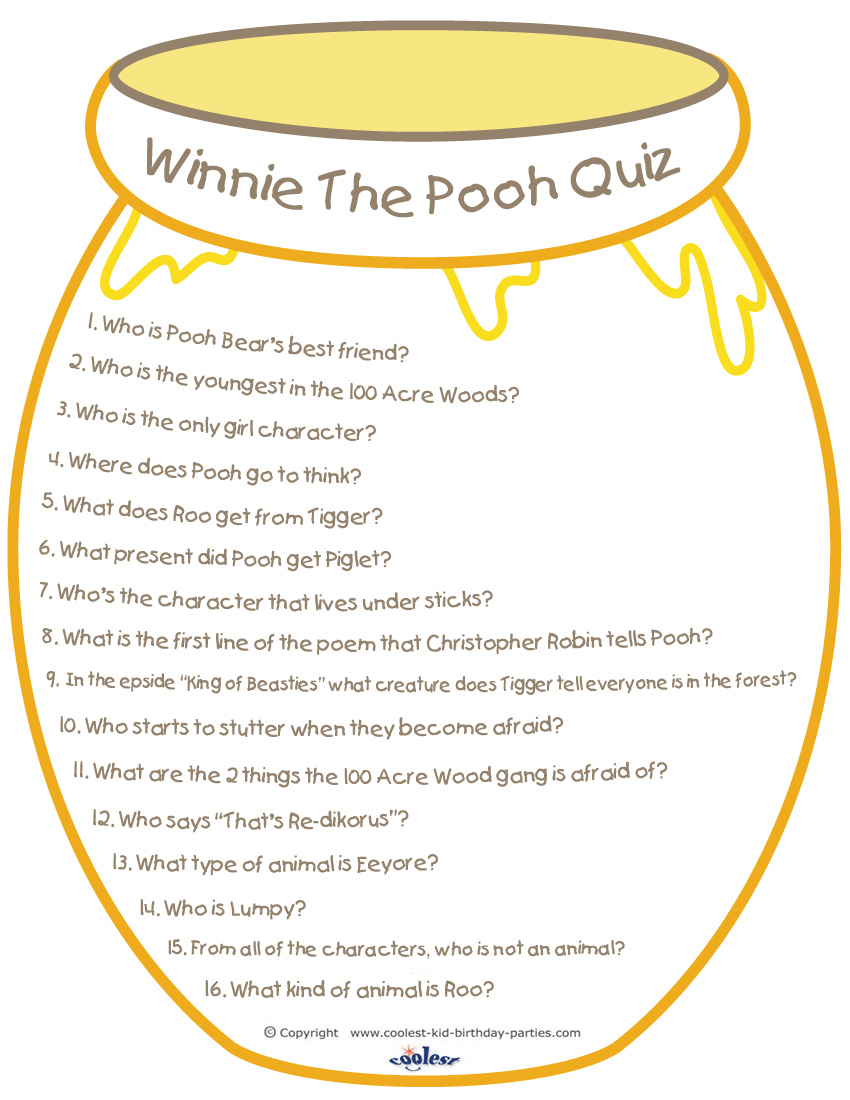 image regarding Printable Quizzes identified as Printable Winnie the Pooh Quiz