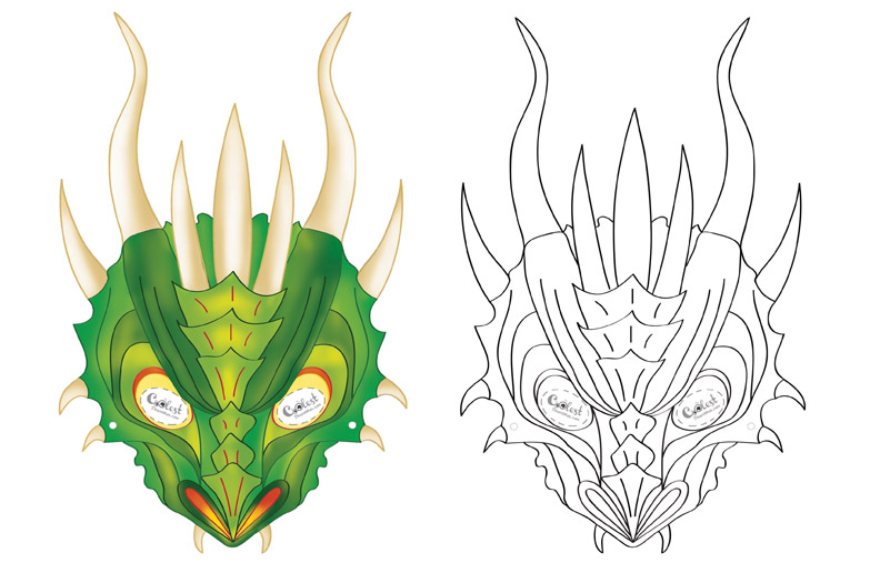 photo about Printable Dragon Mask referred to as Printable Dragon Mask