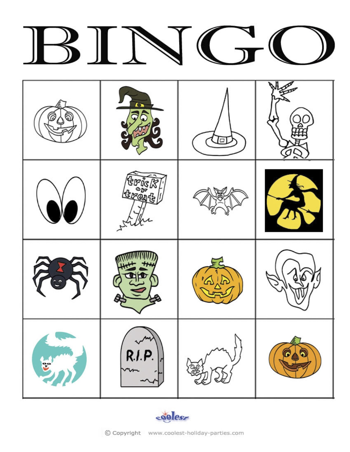 picture about 25 Printable Halloween Bingo Cards referred to as Halloween Bingo 4×4