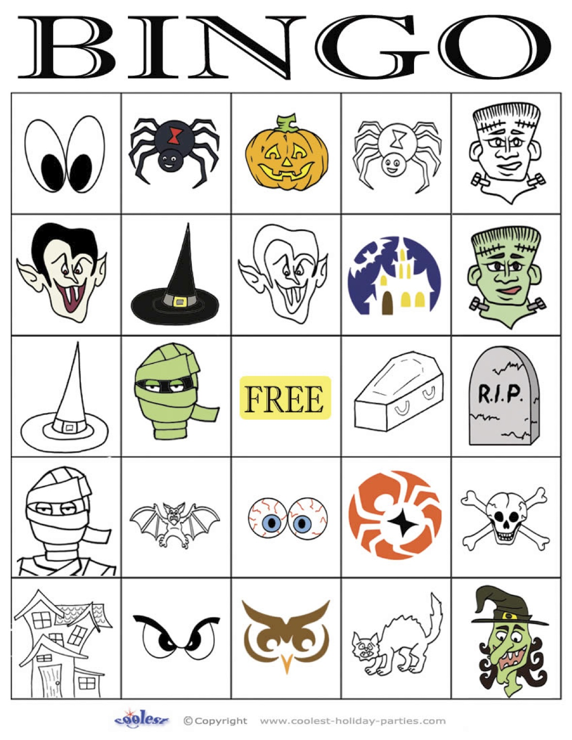 image relating to Printable Halloween Bingo referred to as Halloween Bingo 5×5