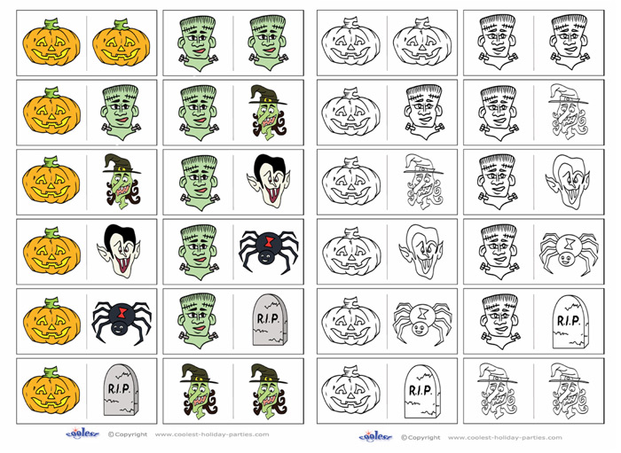 photograph about Printable Dominos named Printable Halloween Dominos Little one Variation