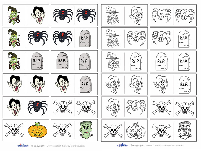 photograph regarding Printable Dominos titled Printable Halloween Dominos